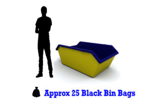 2 yard Mini Skip with silouette of man standing next to it