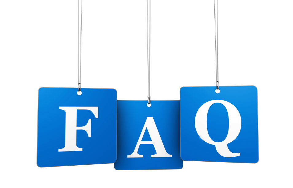 Blue and white FAQ image for FAQ page for Skip Hire Site
